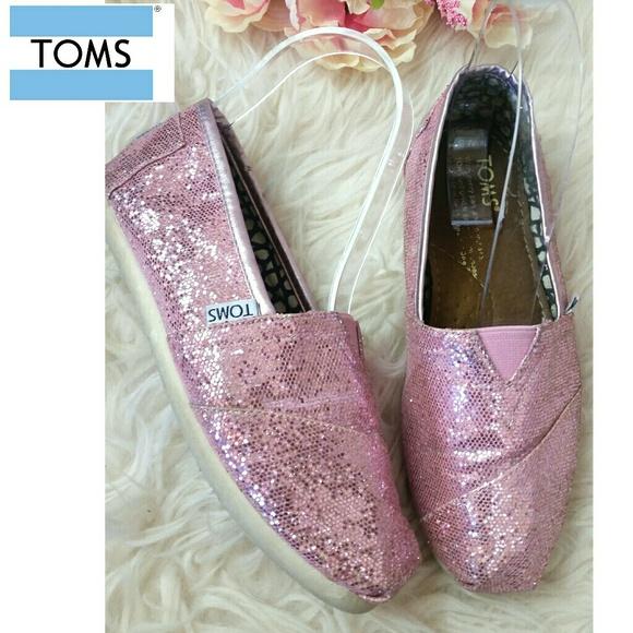 dbed2c84a0ff Toms Shoes | Pink Glitter Women Slip On Flats Sz5 | Poshmark